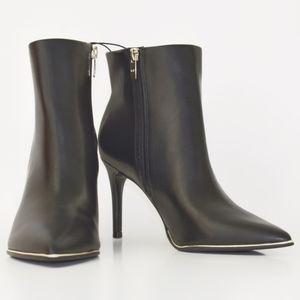 Marc Fisher Ankle Heeled Booties with Gold Accent